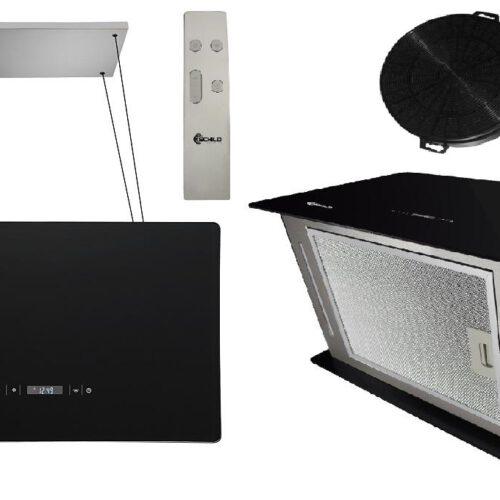 Okap kuchenny wyspowy wiszący 60cm czarny 532m3/h SCHILD GH600 pochłaniacz- szkło cernamiczne z boków