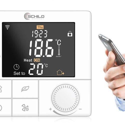 TUYA Schild EP-B8WiFi sterownik 230V, termostat, czujnik, regulator temparatury pokojowej +czujnik temperatury podłogi/ zewnętrzny w zestawie razem z przewodem - na wyjściu 230V
